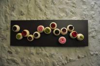 tableau graines naturelles collées avec roses stabilisées et uatres végétaux