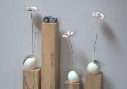 colonne de bois naturel et pavots blancs stabilisées dessus