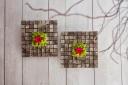 mosaïque de carrés d'écorce en tableau de 30cm sur 30 cm avec du lichen et une rose au centre