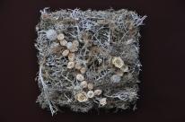 carré de lichens argentés et chemin de roses écrues stabilisées et brillance de fil métal argent.