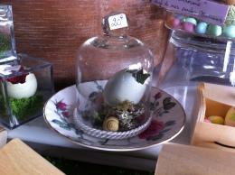 """""""Nature endormie"""" Une jolie soucoupe romantique avec des roses anciennes accueille une cloche sous laquelle un œuf bleu de poule Araucana et quelques trésors de la Nature"""